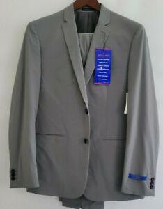 Perry Ellis Mens 48L 43 x 34 Gray Very Slim Stretch Wrinkle Resist Tech + Suit