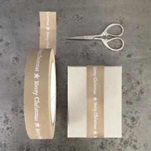 Festive Brown Kraft Paper Tape, White Merry Christmas, East of India - 50m