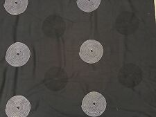 Black And White Embroidered Circles Faux Silk Slub Taffeta Curtains Fabric