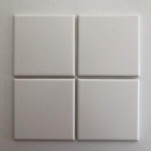 "4 Florida Tile 555 Lumina White Matte 4 3/8"" x 4 3/8"" Square Vintage Mid Century"