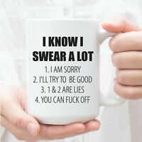 I Know I Swear A Lot Coffee Mug Funny Gift For Coworker Gag Gift Present Mug