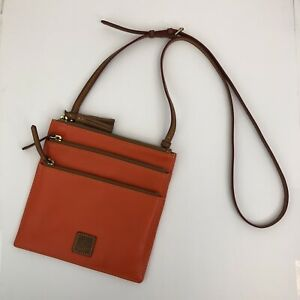 Dooney & Bourke Florentine Orange Leather Triple Zip Crossbody Handbag