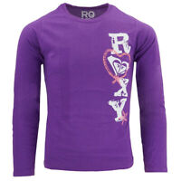 Roxy Love Purple Long Sleeve Shirt Pink Heart Girls Small 5/6