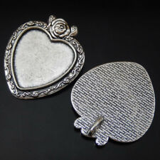 Cameo Setting Tray 24*23mm Jewelry 50185 6pcs Vintage Silver Alloy Heart Rose