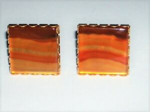 VINTAGE SWANKS CUFF LINKS  STUNNING LARGE SQUARE ORG, GOLD & BROWN AGATE STONE