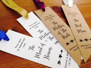 Reserved Cards for the Bridal Party Wedding / Event