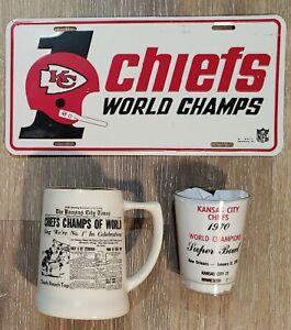 Vtg Kansas City Chiefs World Champs License Plate Stein & Cup Super Bowl IV AFL