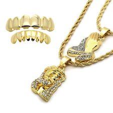 14k Gold Plated High Fashion Jesus & Prayer Hands 2mm 24 & 30 Rope chain w Grilz