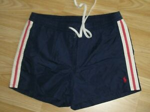 Mens POLO RALPH LAUREN Retro Blue Swimming Swim Zip Shorts Size L Large GREAT!