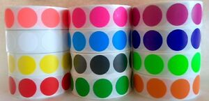 """1000/ROLL  3/4"""" CIRCLE COLOR CODED LABEL DOT STICKERS INVENTORY CODE (12 COLORS)"""