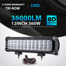Tri-Row 360W 12Inch Led Light Bar Spot Flood Offroad 4WD Jeep Truck ATV UTE 14""