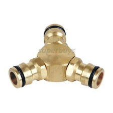 Brass 12mm Three 3 Way Coupling Water Garden Hose Fitting Connector Joiner