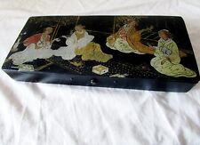 ancienne boite-plumier laquée noire d'époque napoléon 3 en bois-motifs chinois