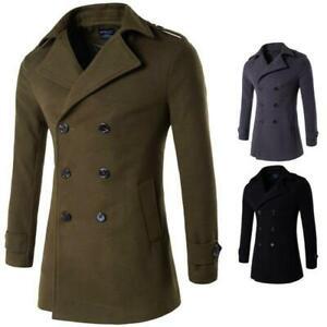 Men's Slim Fit Peacoat Double Breasted Woolen Jacket Outdoor Lapel Trench Coat