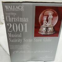 Wallace Silversmith Musical Nativity Scene Snow Globe New  Box 2001 Christmas