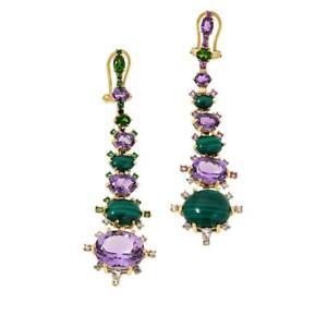 Rarities Mismatched Multi-gem Gold-tone Dangle Earrings HSN $300