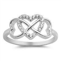 .925 Sterling Silver Infinity Knot Heart Love Promise Ring Clear CZ Size 4-10