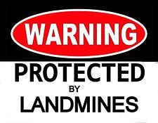 METAL MAGNET Warning Protected By Landmines Military Humor MAGNET