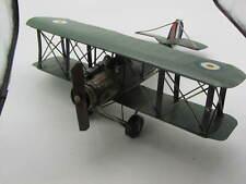 "US Biplane Metal Desk Top Model 13"" WW1 Airplane Aircraft Decor Green Vintage"