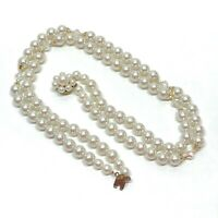 Vintage Multi Strand Glass Faux Pearl Beaded Necklace Cluster Clasp