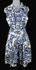 Women's Samantha Sung White Blue Sleeveless Floral Belted A Line Dress Size 6