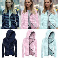Womens Quilted Puffer Jacket Ultralight Winter Warm Hooded Down Coat Top Outwear