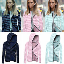 Womens Zip Quilted Puffer Jacket Ultralight Winter Warm Hooded Down Coat Outwear