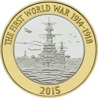 2015 £2 HMS BELFAST WORLD WAR ONE WW1 BRILLIANTLY UNCIRCULATED 30/32 POUND 2 c