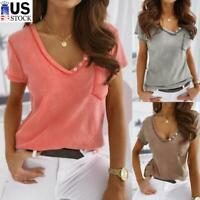Women's V-Neck T-Shirt Casual Loose Fit Short Sleeve Basic Tunic Top Long Blouse