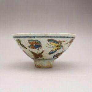 China Famille Rose Porcelain Hand painted Butterfly Design Teacup Bowl 5 inch