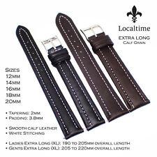 SUPER OFFER X-Long Calf Grain Genuine Leather Watch Straps Black Brown 12-20mm