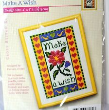 Alice Peterson Make a Wish Floral Heart 4x6 Cross Stitch Kit Words to Grow Dobbs