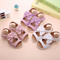 Summer Kids Child Toddler Baby Girls Beach Sandals Bow Leather Princess Shoes US