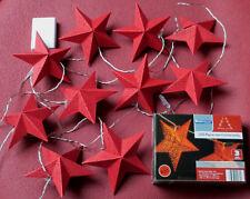 Weihnachts-Deko: LED-Papierstern-Lichterkette für Innen, rot, 10 Sterne, 320 cm
