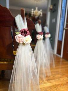 Wedding Pew Bows Tulle Pew Bow Aisle Decor Pew Flowers Aisle Flower Aisle Marker