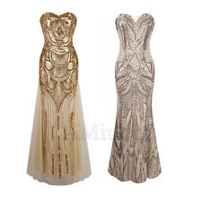 1920s Flapper Gatsby Tee Dress Cocktail Party Sequins Wedding Bridesmaid Gown