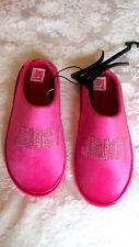 JUICY COUTURE 'GLORIACRYSTAL' Sz Medium Pink Velvet Rhinestone Logo SLIPPERS NEW