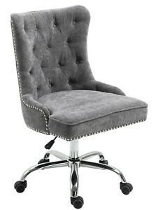 Velvet Fabric Upholstered Tufted Home Office Chair with Studs-Grey