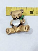 Jonette Jewelry Gold Tone Teddy Bear Silver Tone HEART JJ Pin ~ Ships FREE