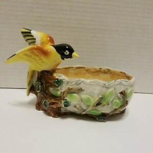 Vintage Wales Yellow Black Bird Planter Made In Japan