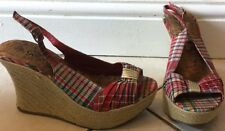 Rockabilly Red & Gingham Check Peep Toe Sling Back Wedge Sandals, Uk 5, New look