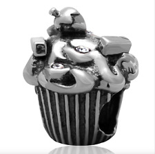 Authentic.925 Solid Sterling European Charm Fits PAN BRACELET  CUPCAKE CHARM