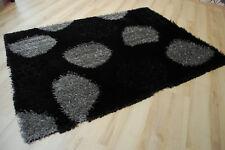 Tapis poil long timona-shaggy noir gris à pois 120x170cm
