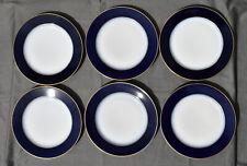 6 assiettes plates en porcelaine de Limoges Raynaud Bleu de Four / filet or