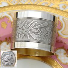 Antique French 800 (nearly sterling) Silver Napkin Ring, Machined Band: Agrarian