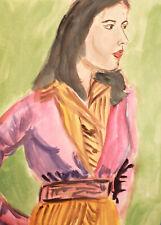 Vintage watercolor painting impressionist female portrait