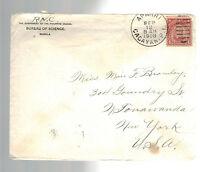 1908 Manila Philippines Cover to North Tonawanda NY  USA Bureau of Science
