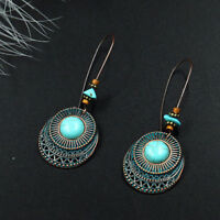 Women Vintage Round Turquoise Long Dangle Hook Eardrop Earrings Fashion Jewelry