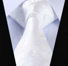 Blanc homme floral paisley cravate soie tissée jacquard cravate mariage libre hanky
