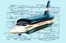 "Build model land Speed Racer 131/2"" Jetex Spirit of America‑Sonic‑1 printed plan"